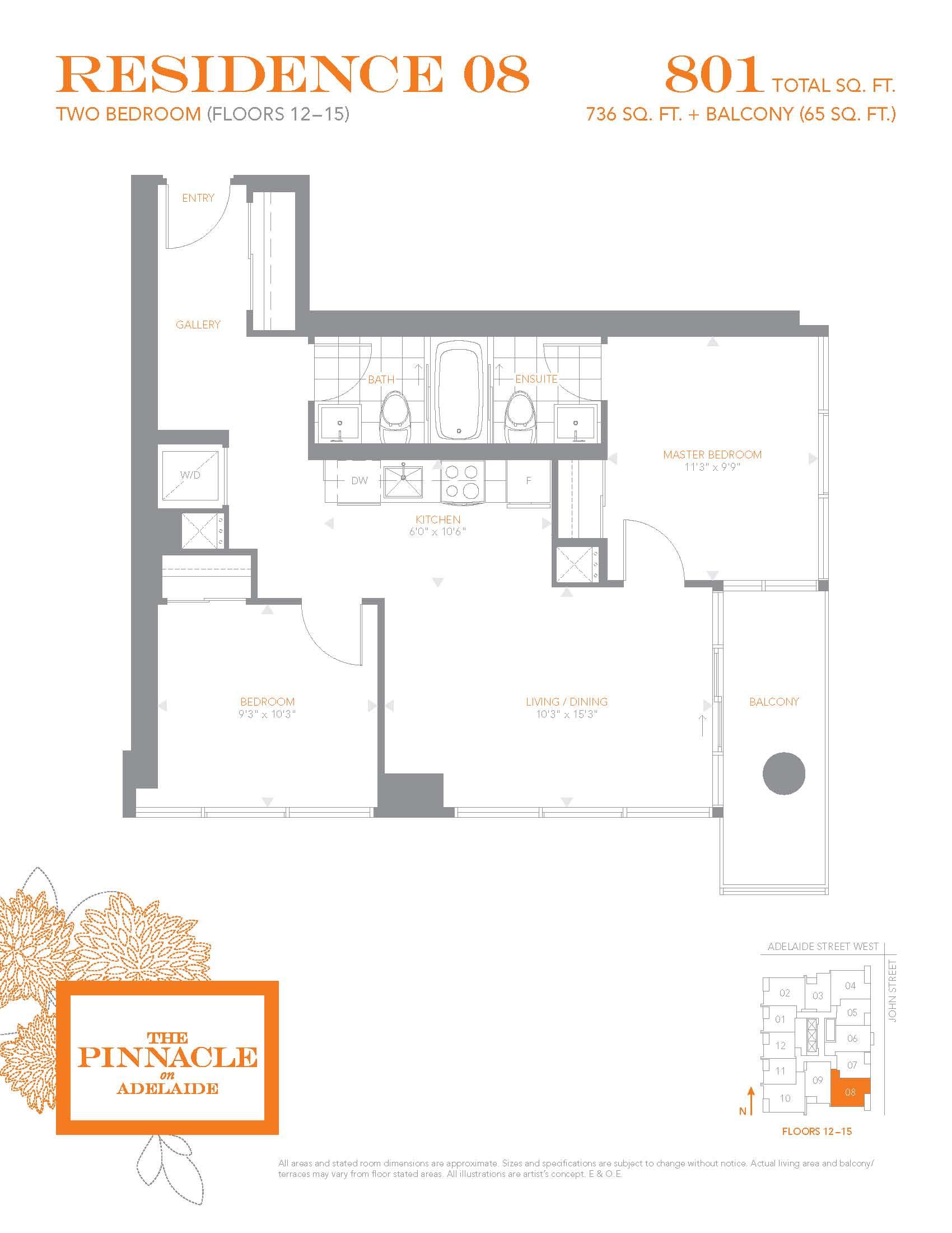 Pinnacle residence 08 floors 12 15 pinnacleadelaide for 12 yonge floor plans