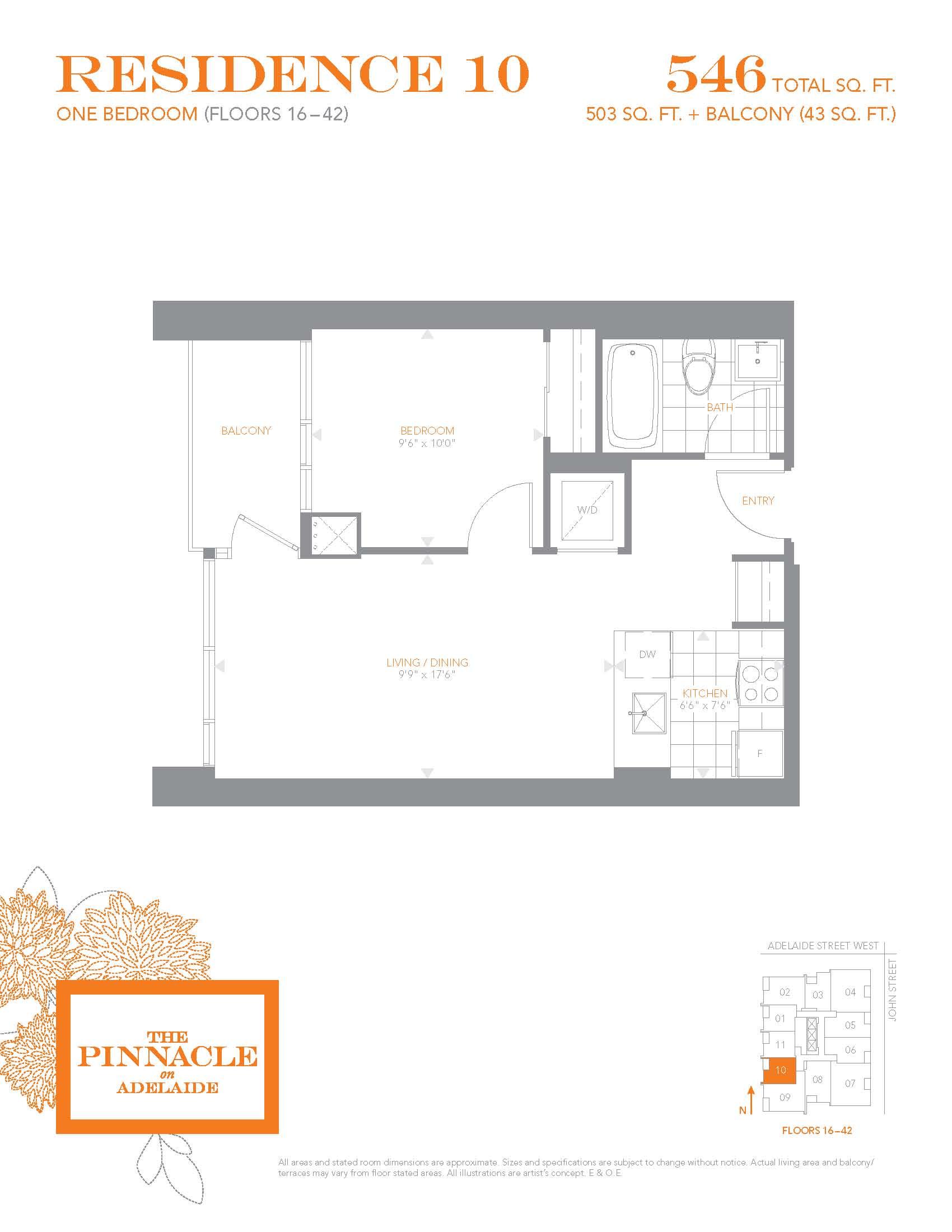 Pinnacle residence 10 floors 16 42 pinnacleadelaide for 10 yonge street floor plan